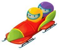 Cartoon bobsleigh with boy and girl Royalty Free Stock Photos