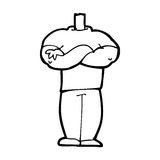 Cartoon body with folded arms  (mix and match cartoons or add own photos) Royalty Free Stock Image