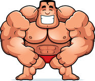Cartoon Bodybuilder Flexing Stock Images