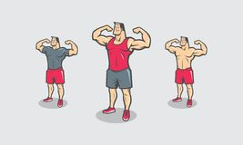 Cartoon bodybuilder with some variation of cloths. Cartoon bodybuilder body pose with some variation of cloths Stock Photography