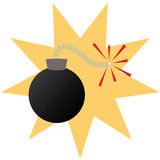 Cartoon bomb. Cartoon illustration of a round bomb with an ignited fuse Royalty Free Stock Image