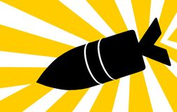 Cartoon bomb. Illustration of a bomb with flashing background Stock Images
