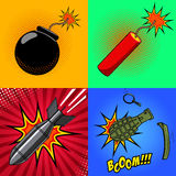 Cartoon bomb, dynamite stick, grenade, with fire in pop art styl Royalty Free Stock Photos