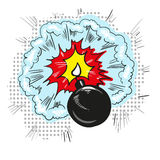Cartoon bomb with fire pop art style comic illustration Royalty Free Stock Image