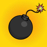 Cartoon bomb with fire pop art style vector Royalty Free Stock Photography