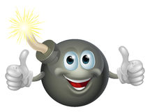 Cartoon bomb man. Drawing of a cartoon cherry bomb man smiling and giving a double thumbs up Stock Images