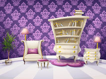Cartoon Book Cabinet With White Furniture Royalty Free Stock Image