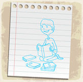 Cartoon  book on paper note, vector illustration Stock Photos