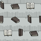 Cartoon books and bookshelves seamless background Royalty Free Stock Photos