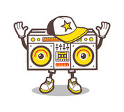 Cartoon boom box character vector design for tee Royalty Free Stock Photos