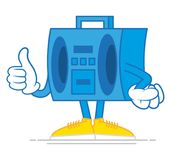 Cartoon boombox. One blue cute old hip hop tape recorder boombox for listen noise to music which confidently stand and show a finger up. Modern vector style Royalty Free Stock Photos