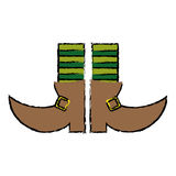 Cartoon boot leprachaun stripes socks st patrick day Royalty Free Stock Images