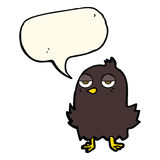 Cartoon bored bird with speech bubble Stock Photography