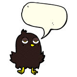 Cartoon bored bird with thought bubble Stock Photography