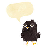Cartoon bored bird with thought bubble Royalty Free Stock Photography