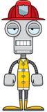 Cartoon Bored Firefighter Robot Stock Photo
