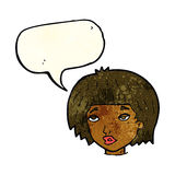 Cartoon bored looking woman with speech bubble Royalty Free Stock Photography
