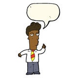 cartoon bored man asking question with speech bubble Royalty Free Stock Photos