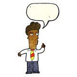 cartoon bored man asking question with speech bubble Royalty Free Stock Images