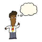 cartoon bored man asking question with thought bubble Stock Images