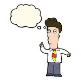 cartoon bored man asking question with thought bubble Stock Photography