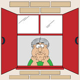 Cartoon Bored Old Man at Window. Glum, sad and bored old man looking out the window, head in his hands. Cartoon character royalty free illustration