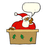 Cartoon bored santa claus with speech bubble Stock Images