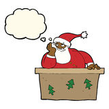 Cartoon bored santa claus with thought bubble Royalty Free Stock Image