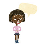 Cartoon bored woman waiting with speech bubble Royalty Free Stock Images