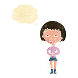 Cartoon bored woman waiting with thought bubble Stock Images