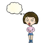 Cartoon bored woman waiting with thought bubble Royalty Free Stock Photo