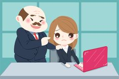 Cartoon boss harassing woman. In the office Stock Photos