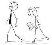 Cartoon of Boss Manager Walking With Female Assistant Following Stock Photo
