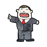 Cartoon boss shouting orders. Retro cartoon with texture. Isolated on White Royalty Free Stock Images