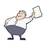 cartoon boss waving papers Royalty Free Stock Photo