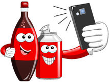 Cartoon Bottle and Can taking selfie. Smiling cartoon bottle and can taking selfie with smartphone vector illustration