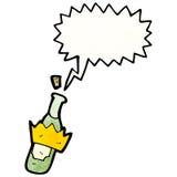 cartoon bottle popping cork Royalty Free Stock Photo