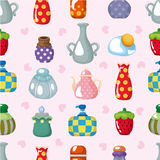 Cartoon bottle seamless pattern. Drawing Royalty Free Stock Photography
