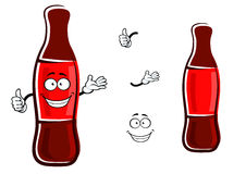 Cartoon bottle of soda with thumb up Royalty Free Stock Photos