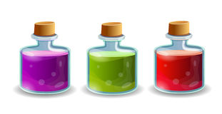Cartoon bottles with poison in different colors. Vector elements vector illustration