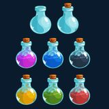 Cartoon bottles with poison in different colors, vector elements for game design. Stock Image