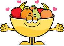 Cartoon Bowl of Fruit Hug Royalty Free Stock Images
