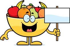 Cartoon Bowl of Fruit Sign Royalty Free Stock Photo