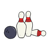 cartoon bowling ball and skittles Stock Photography