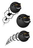 Cartoon bowling balls characters. With toothy smiles, two with different shaped motion trails, vector illustration on white Stock Photography