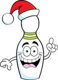 Cartoon bowling pin wearing a Santa hat Royalty Free Stock Photo