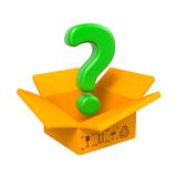 Cartoon Box with Question Mark. Isolated on White. Royalty Free Stock Photos