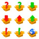 Cartoon Box with Question Mark. Isolated on White. Stock Photography