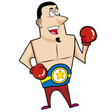 Cartoon boxer. With boxing gloves vector illustration Stock Photos