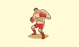 Cartoon boxer with his champion belt. Ready to fight Stock Image
